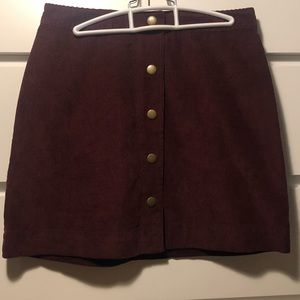 Cord Button Through Skirt